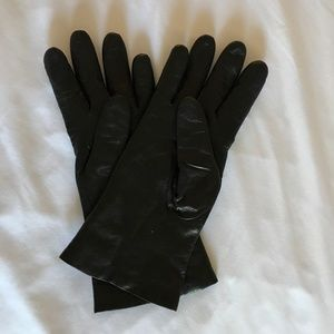 Black Genuine Leather Gloves with Cashmere Lining